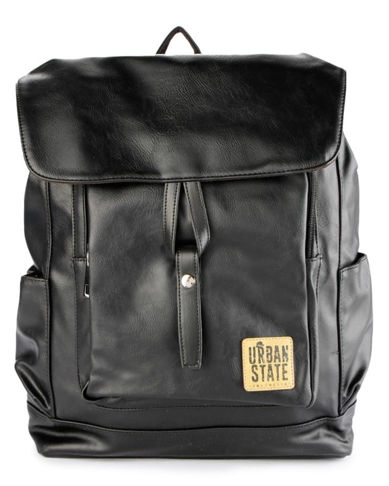 Distressed Leather Knot Tie Backpack - Black Backpacks - Urban State Indonesia