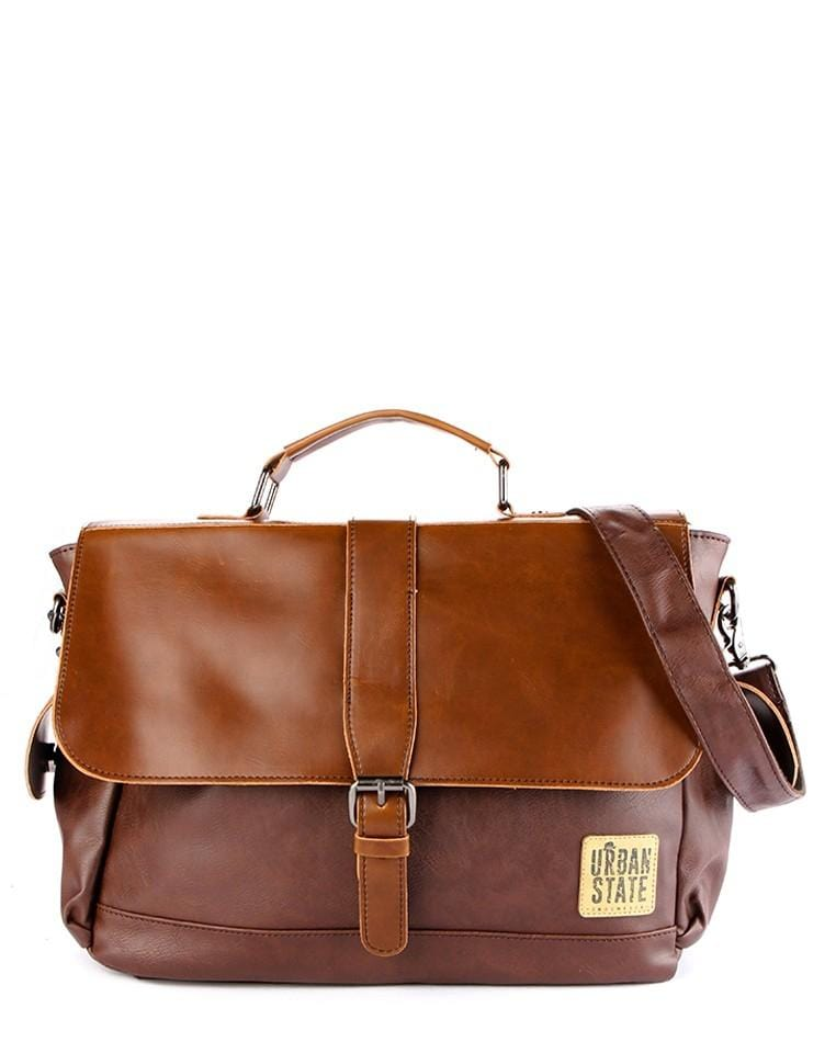 Distressed Leather Buckled Doctor Bag - Dark Brown Messenger Bags - Urban State Indonesia