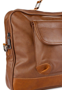 Distressed Leather Laptop Bag - Camel Messenger Bags - Urban State Indonesia