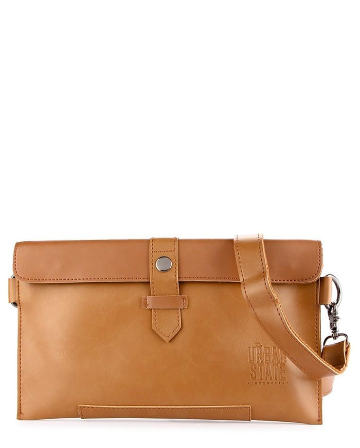 Distressed Leather Hand Strap Clutch - Camel Clutch - Urban State Indonesia