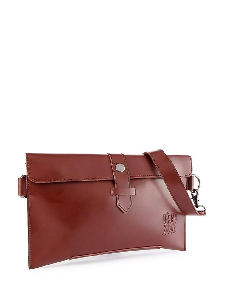 Distressed Leather Hand Strap Clutch - Oxblood Clutch - Urban State Indonesia