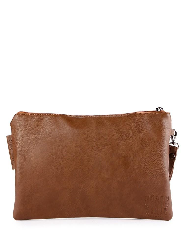 Distressed Leather Pouch Clutch - Camel Clutch - Urban State Indonesia