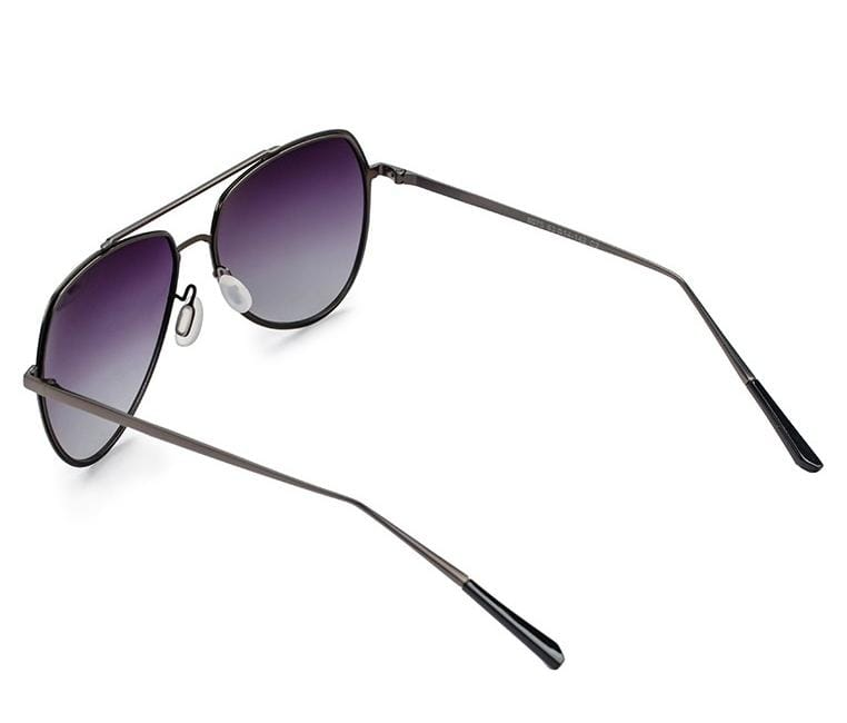 Polarized Double Rim Metal Aviator Sunglasses - Black Silver Sunglasses - Urban State Indonesia