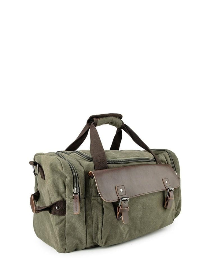 Canvas Buckled Flap Duffel Bag - Green Duffel Bags - Urban State Indonesia