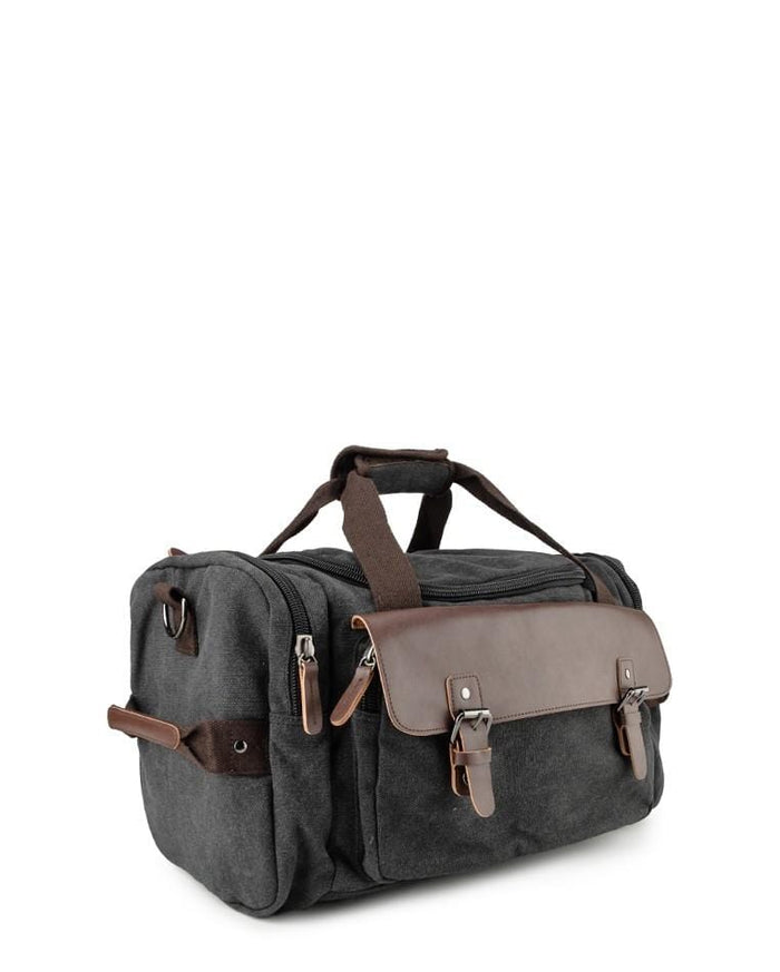 Canvas Buckled Flap Duffel Bag - Black Duffel Bags - Urban State Indonesia