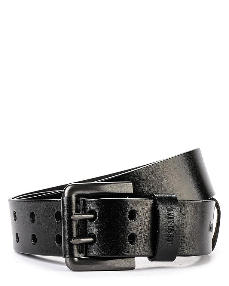 Double Pin Buckle Top Grain Leather Belt - Black Belts - Urban State Indonesia