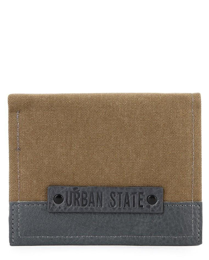 Bi-Fold Canvas Top Grain Leather Wallet - Brown Wallets - Urban State Indonesia