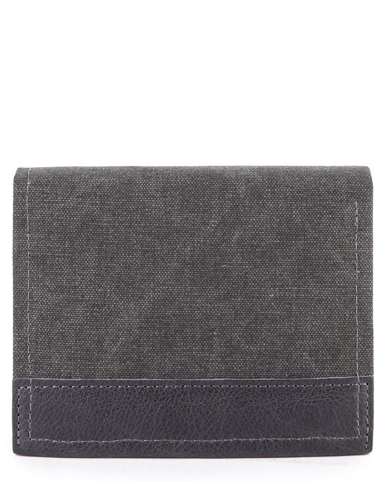 Bi-Fold Canvas Top Grain Leather Wallet - Black Wallets - Urban State Indonesia