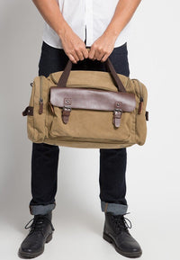 Canvas Buckled Flap Duffel Bag - Brown Duffel Bags - Urban State Indonesia