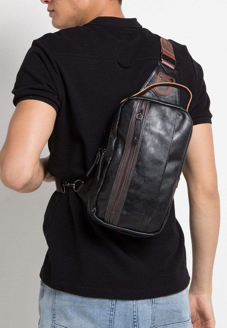 Pu Panel Small Slingbag - Black