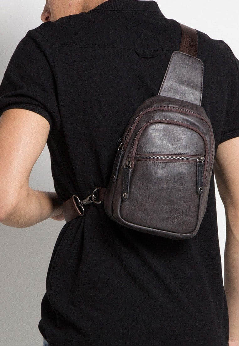 Pu Zip Pocket Small Slingbag - Brown