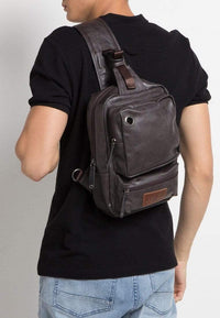 Pu Zipper Ring Contrast Slingbag - Brown Slingbags - Urban State Indonesia