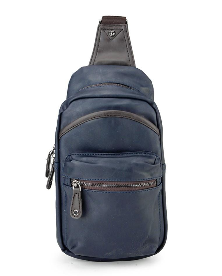 Pu Zipper Slingbag -  Navy