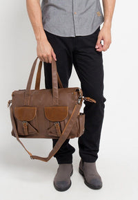 Distressed Leather Pocket Duffel Bag - Camel Duffel Bags - Urban State Indonesia