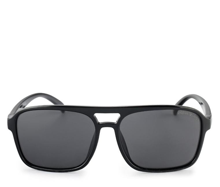 Polarized Barstow Rectangular Aviator Sunnies - Black Glossy Sunglasses - Urban State Indonesia