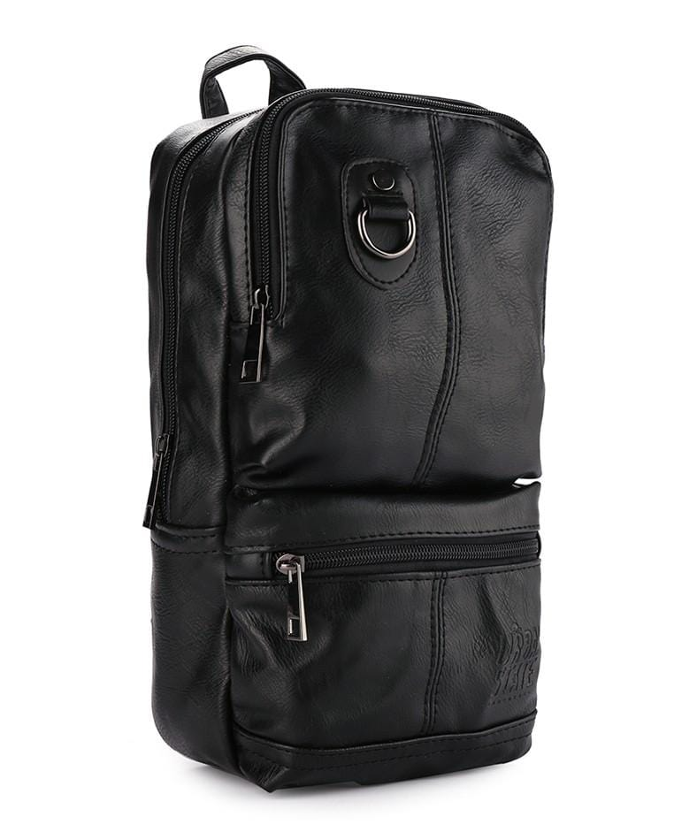 Distressed Leather Utility Long Slingbag - Black Slingbags - Urban State Indonesia