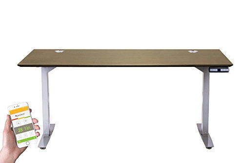 "ApexDesk Flex Pro Series 66"" Standing Desk Base & Top with Bluetooth & Memory Controller (Grey Base+Mocha Top)"