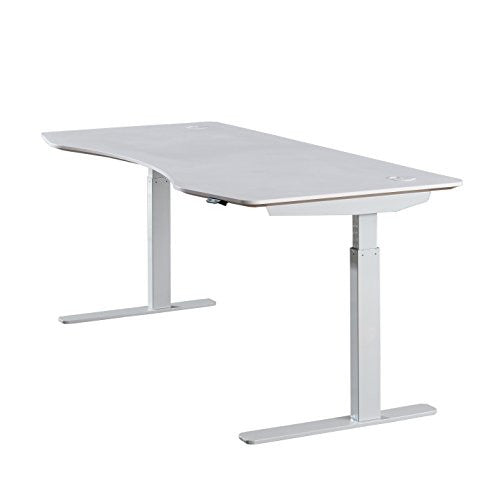 "ApexDesk Elite Series 71"" W Electric Height Adjustable Standing Desk (White Top / Off-White Frame)"