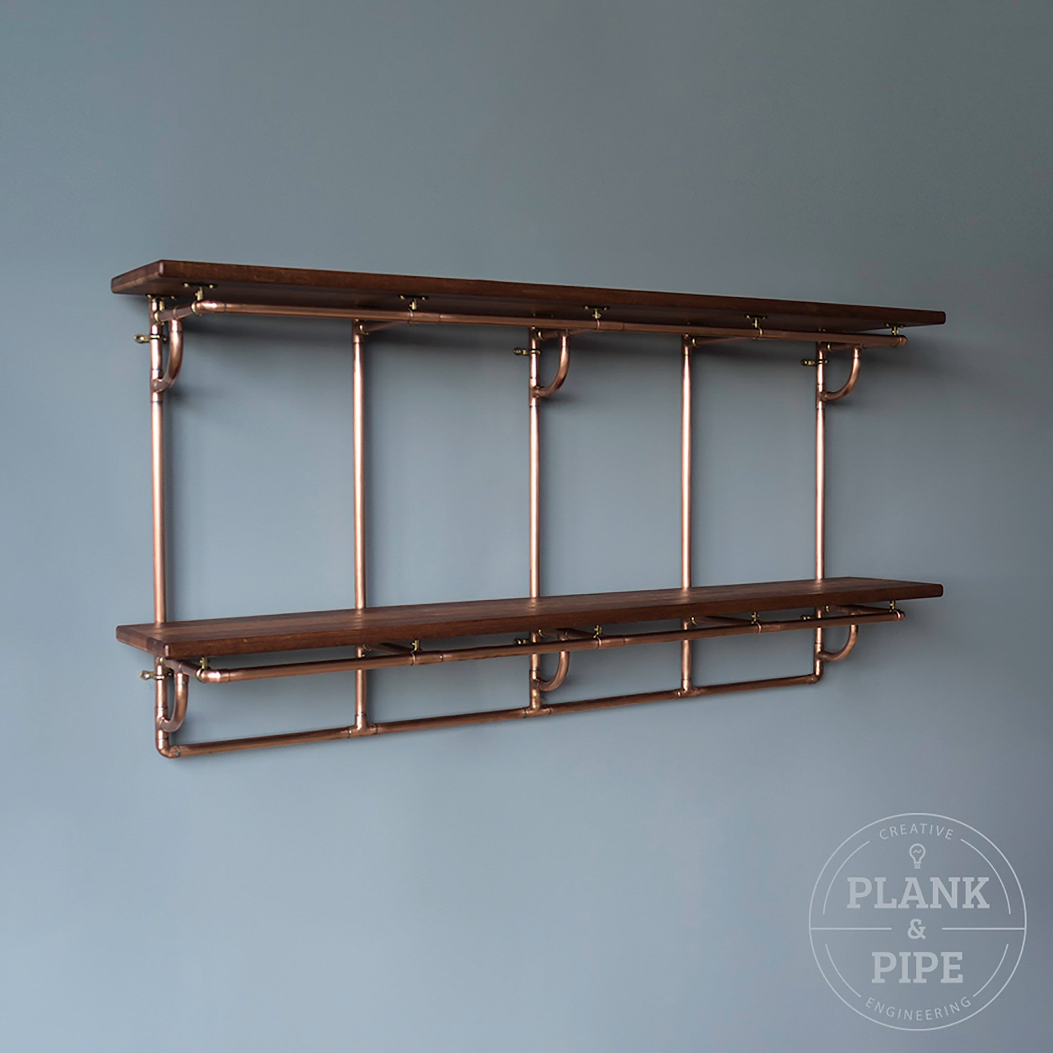 Copper Pipe Shelving Unit - 2 Tier Large