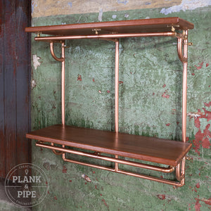 Copper Pipe Shelving Unit - 2 Tier