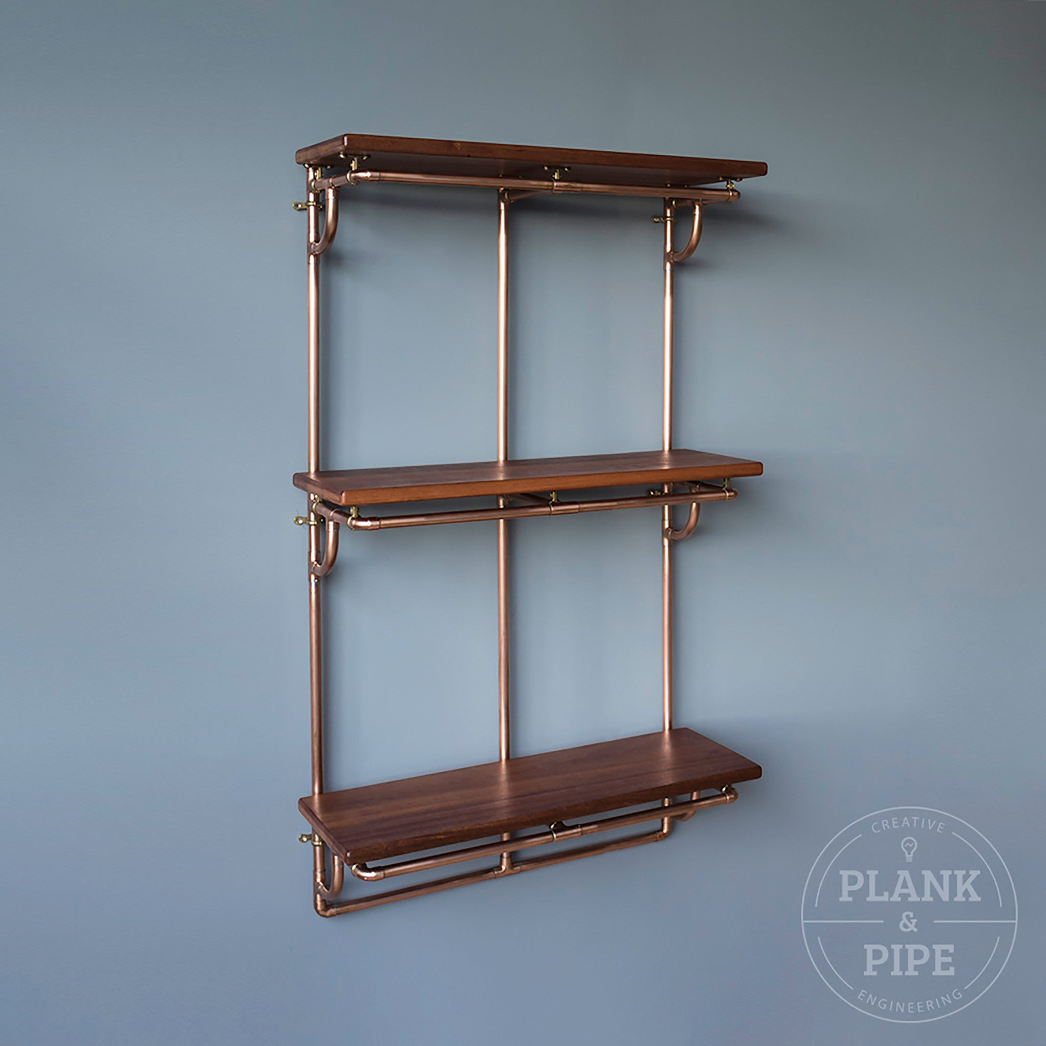 Large Copper Pipe Shelving Unit - 3 Tier