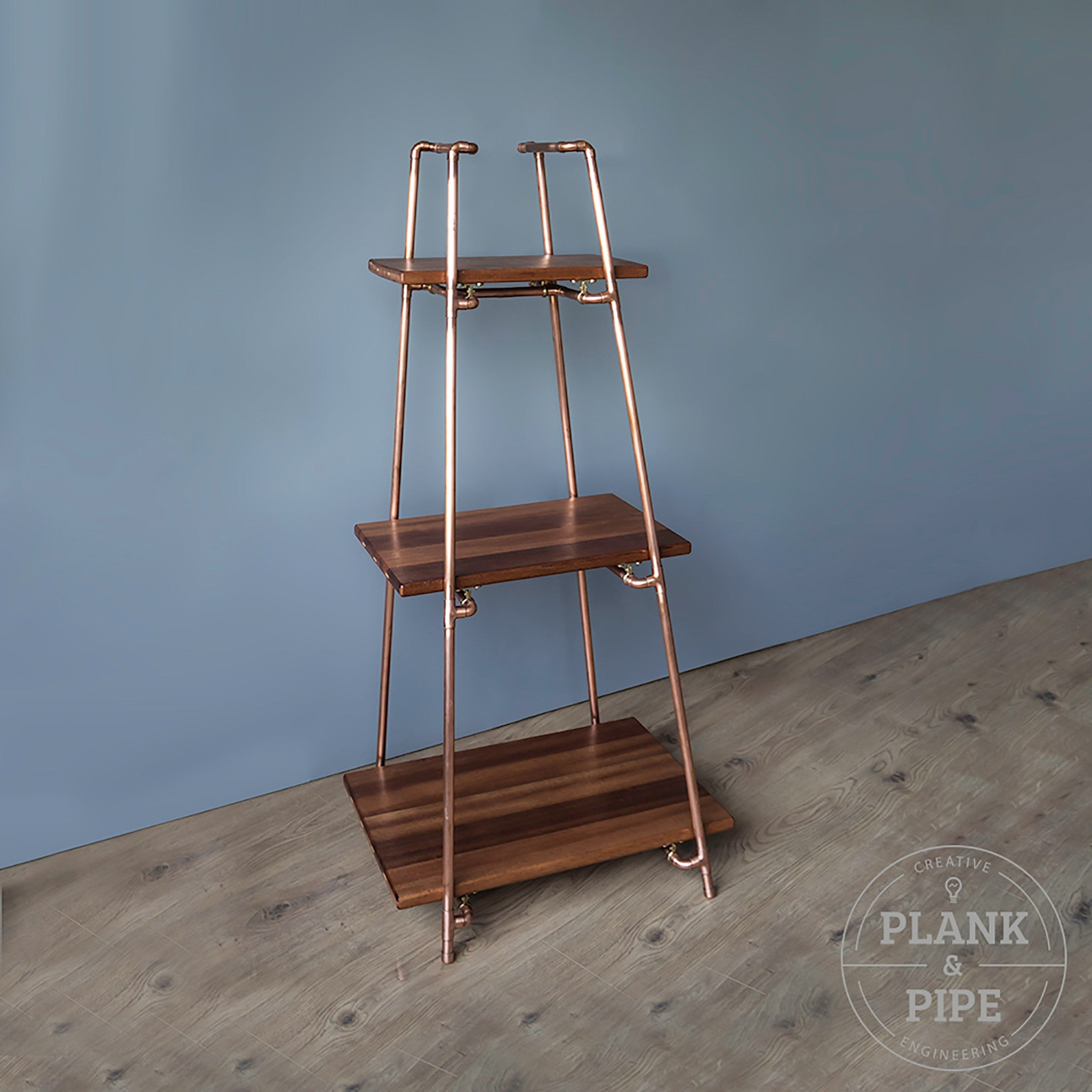 Copper Pipe Freestanding Pyramid Shelves