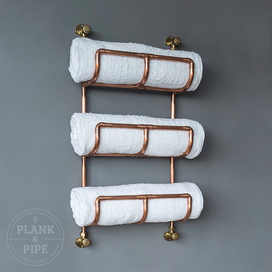 Copper Towel Rack 3 Tier with Towels