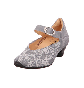 "Think! ""Aida"" Paisley Small-heel Sandals - Silver"