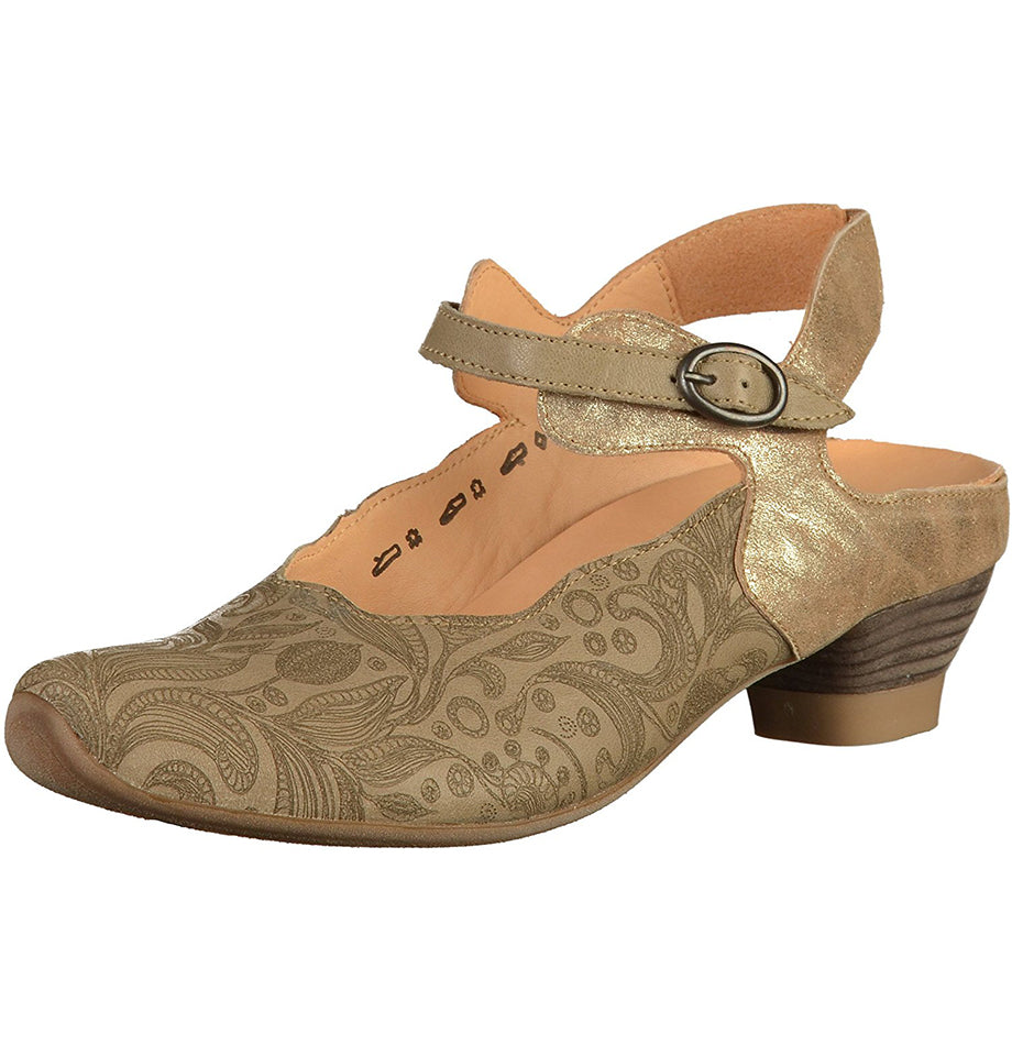 "Think! ""Aida"" Paisley Sandals - Gold & Brown"