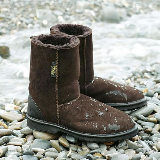 LAST PAIR! Celtic & Co. Sheepskin Boots - Aqualamb Regular Darkest Brown