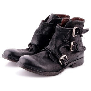 A.S.98 Smoke Coloured Zip Boot with Silver Buckle Boot