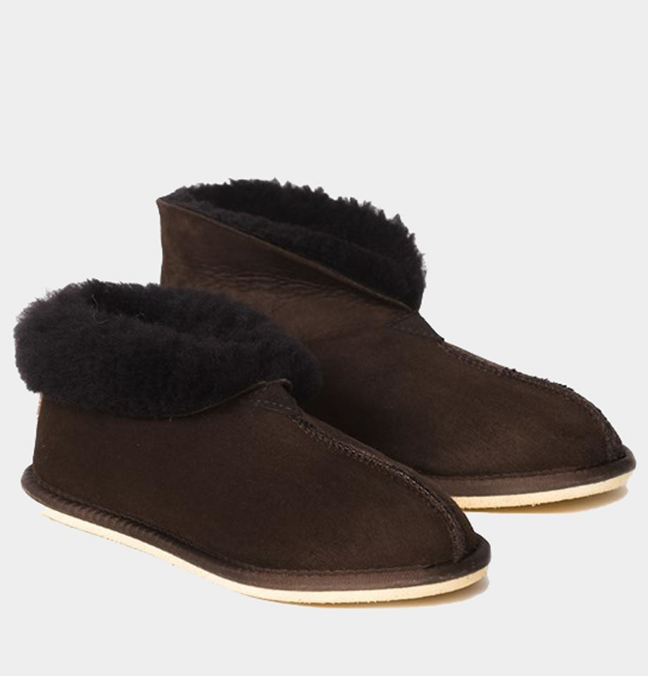 LAST PAIR! Celtic & Co. Boots - Sheepskin Mocca Brown Bootee Slippers