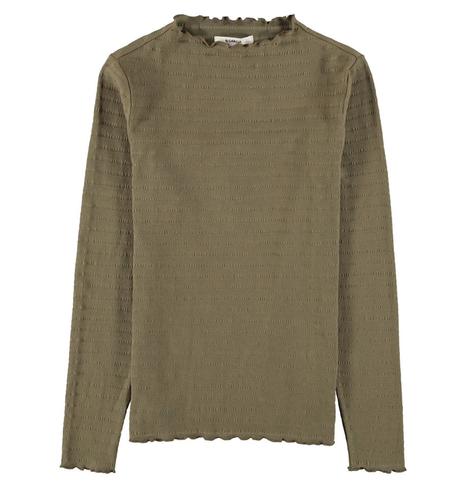 Ladies High Neck Frill Olive Green Long Sleeve Top GE000103