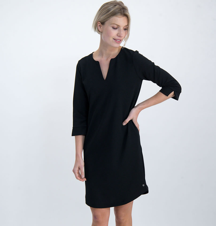 Ladies Black V Neck Pocket Dress GS000180