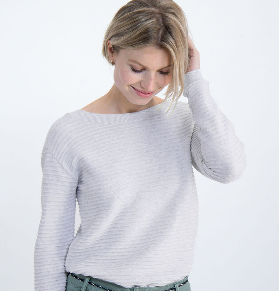 Organic Cotton, Off White, Ribbed Pullover