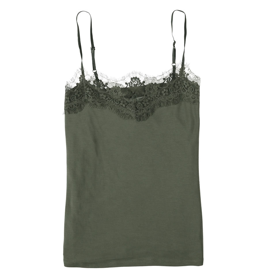 Garcia Ladies Lace Cami Olive Green GS000101