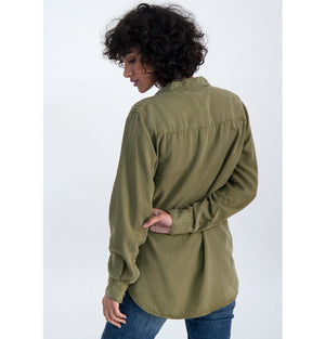 Ladies Olive Green Long Sleeve Shirt M00031