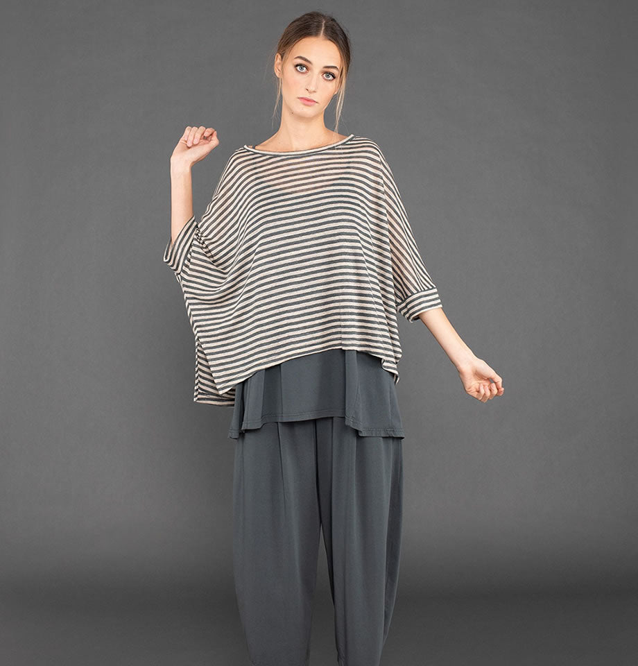 Lago Linen Stripe Top Lava