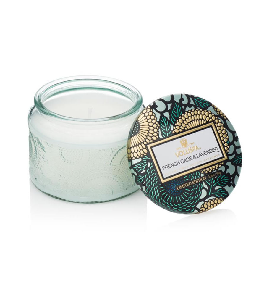 Voluspa Petite Candle in Embossed Glass Jar French Cade VL-7244