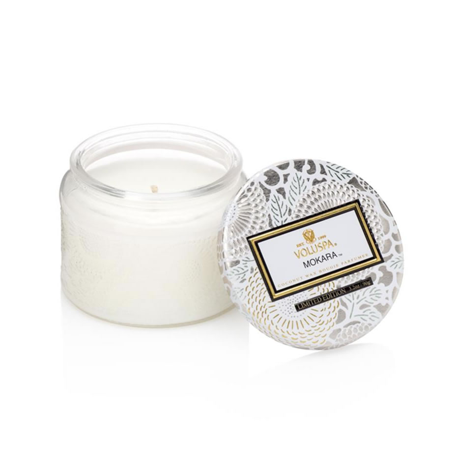 Voluspa Petite Candle in Embossed Glass Jar Mokara VL-7248