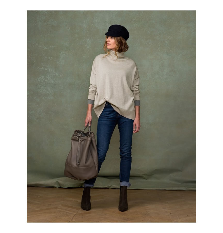 Celtic & Co Clothing - Slouchy Roll Neck Jumper Oatmeal