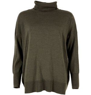 Celtic & Co Clothing - Slouchy, Fine Knit Roll Neck Jumper Moss Green