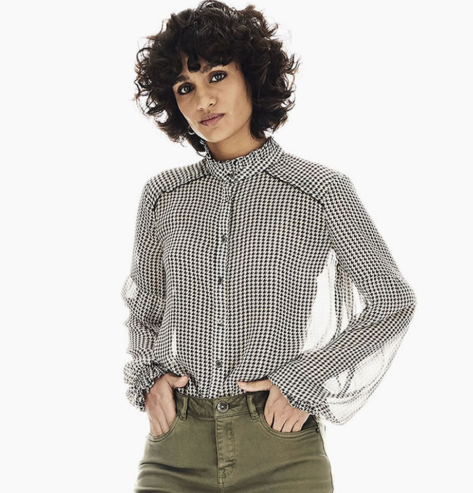 Garcia Houndstooth Collarless Shimmer Shirt T00233