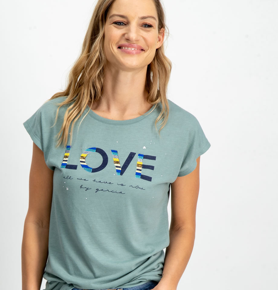 Garcia Ladies LOVE T-Shirt Soft Teal A90004
