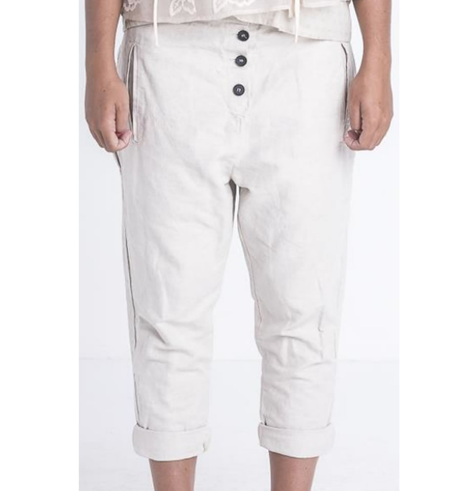 LAST ONE - JAYKO Ylenzo Cotton and Linen Trousers Naturale