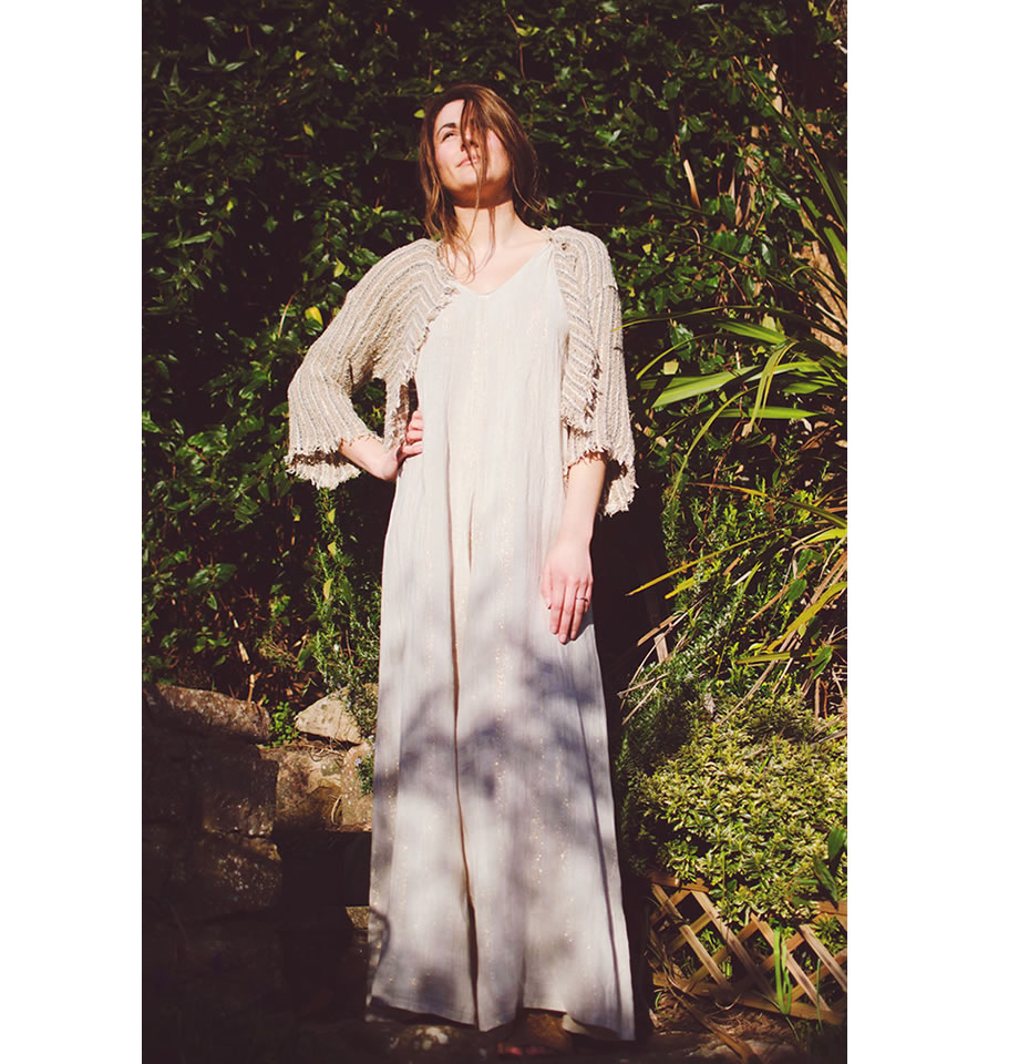 LAST ONE - Tuta Athena Riga Sole Gold and Natur Linen Jumpsuit