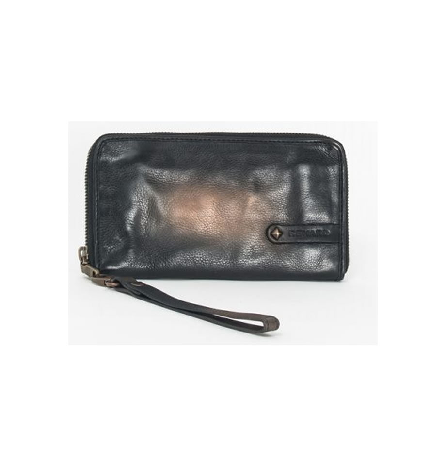 REHARD AC-2603 Vintage Black Leather Purse