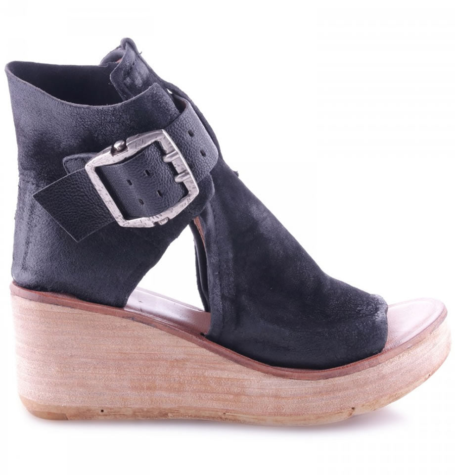 A.S.98 Leather Buckle Wedge Nero 528036