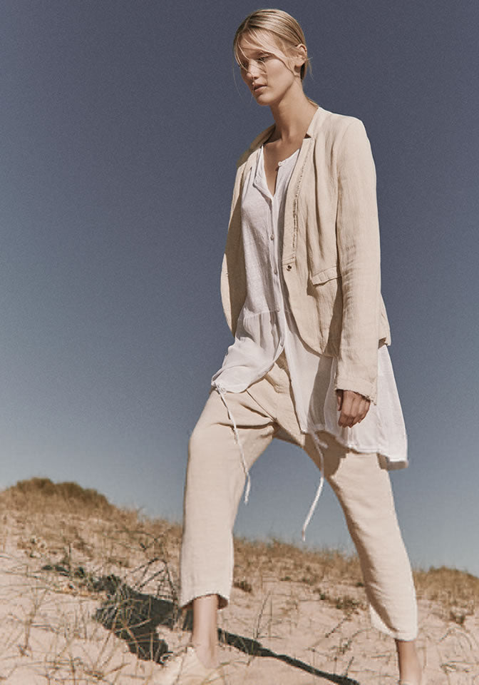 Transit Par Such Trousers Pantalone Cream Linen Trousers