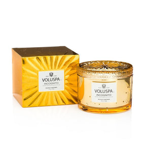 Voluspa Vermeil Double Wick Embossed Candle Incognito